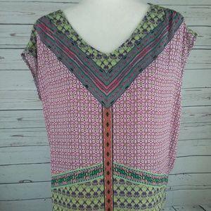 Lucy & Laurel Beaded Sleeveless Geometric Pullover